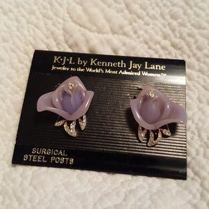 Vintage kenneth jay lane purple flower earrings